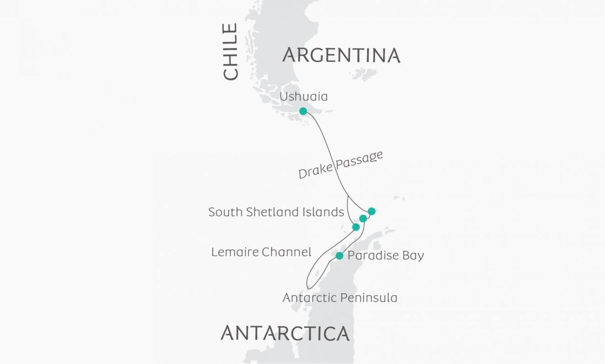 Map for South Shetland Islands and the Antarctic Peninsula Cruise