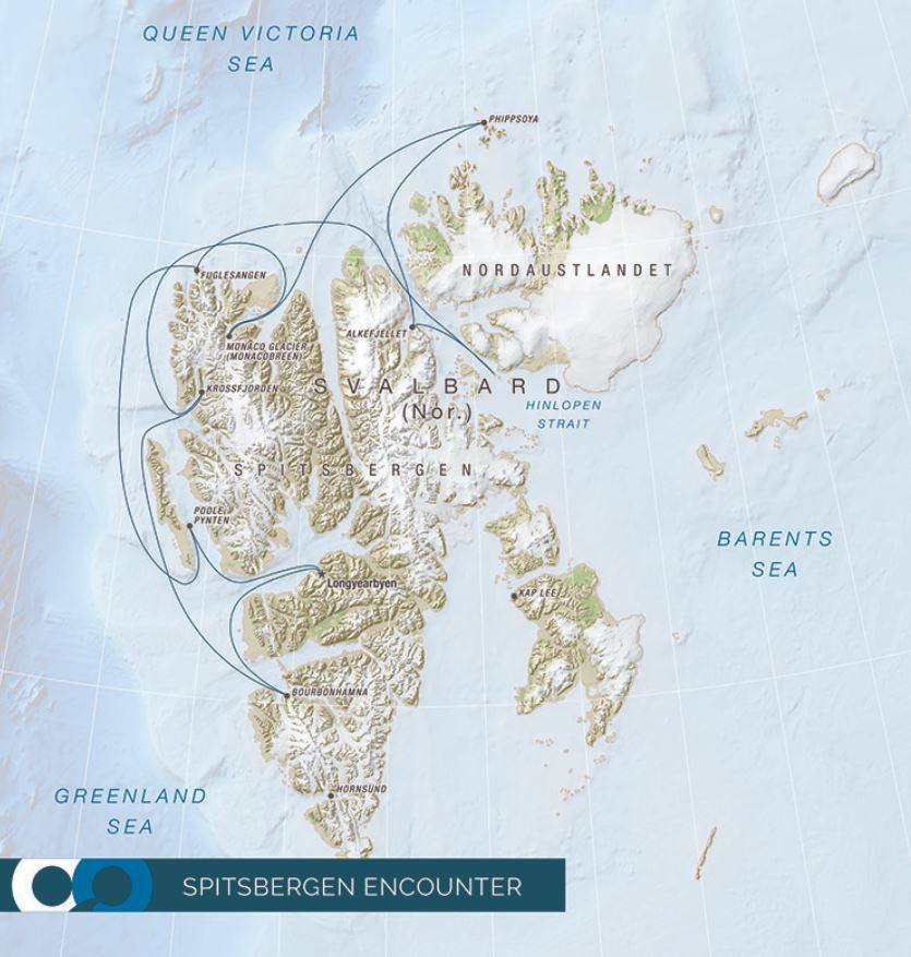 Map for Spitsbergen Encounter Photography Symposium (RCGS Resolute)