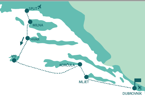 Map for Cruise from Split to Dubrovnik in luxury