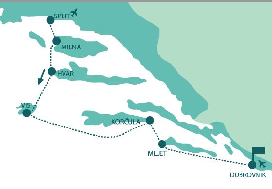 Map for Split to Dubrovnik Luxury Croatia cruise