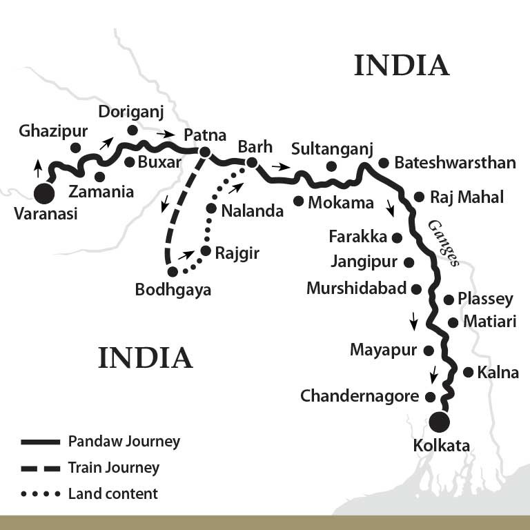 Map for The Upper Ganges River - Downstream (Kindat Pandaw)