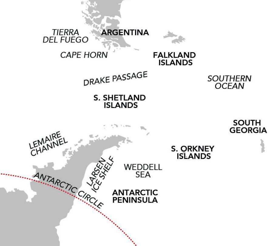 Map for Antarctica & the Total Solar Eclipse (Island Sky)