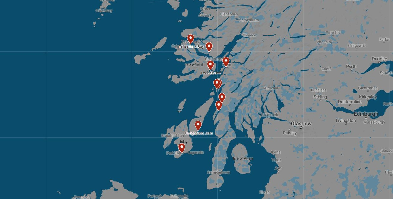 Map for Malt Whisky and Scottish Wildlife Cruise (St Hilda)