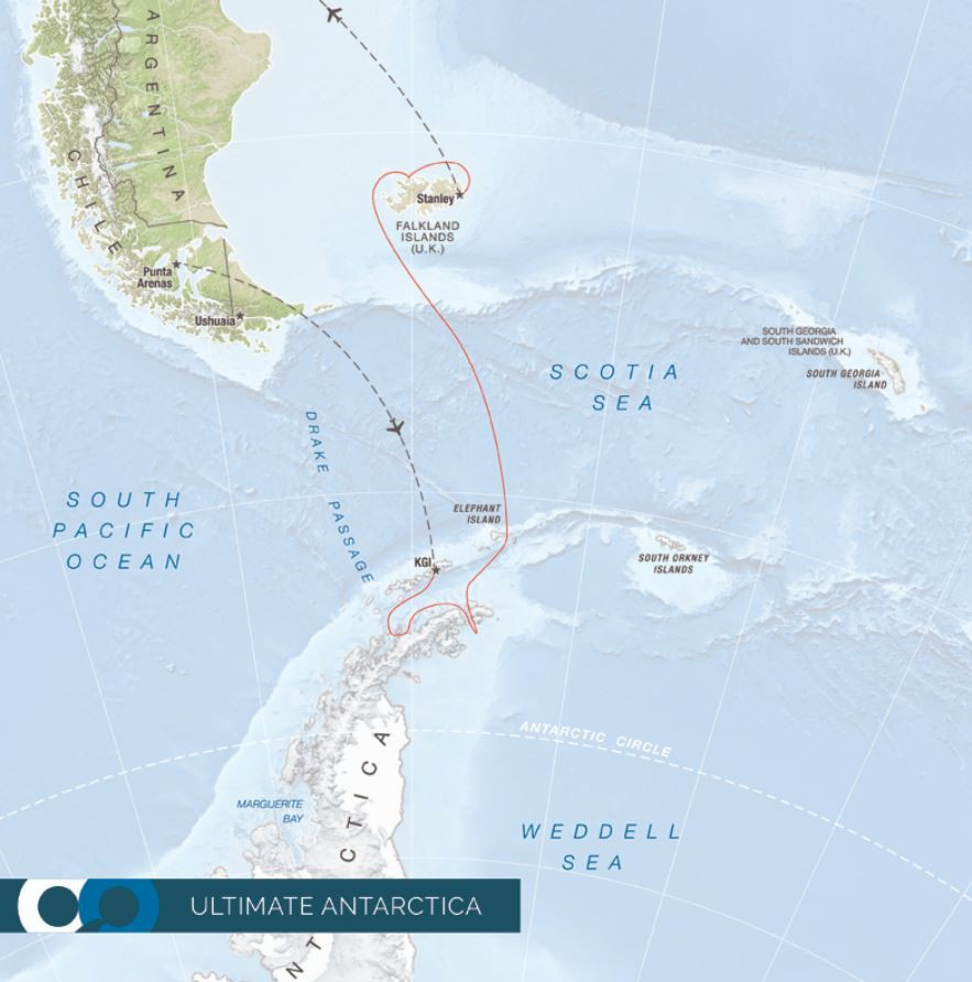 Map for Ultimate Antarctica - Weddell Sea & The Falkland Islands (RCGS Resolute)