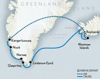 Map for Ultimate Iceland & Greenland Cruise (Le Boreal)