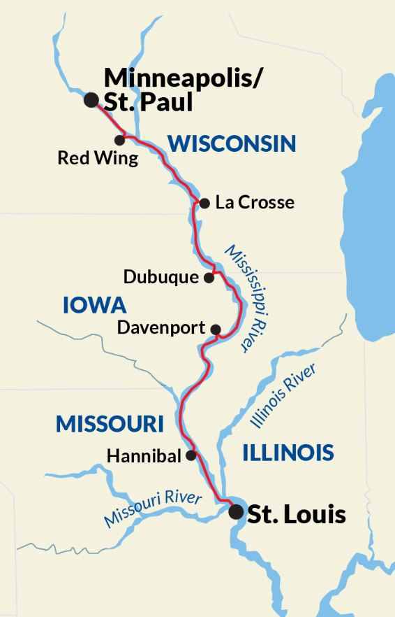 Map for Upper Mississippi River Voyage