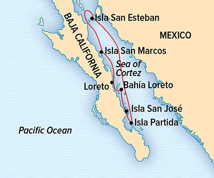 Map for  Whales & Wildness: Spring in the Sea of Cortez (NG Venture)
