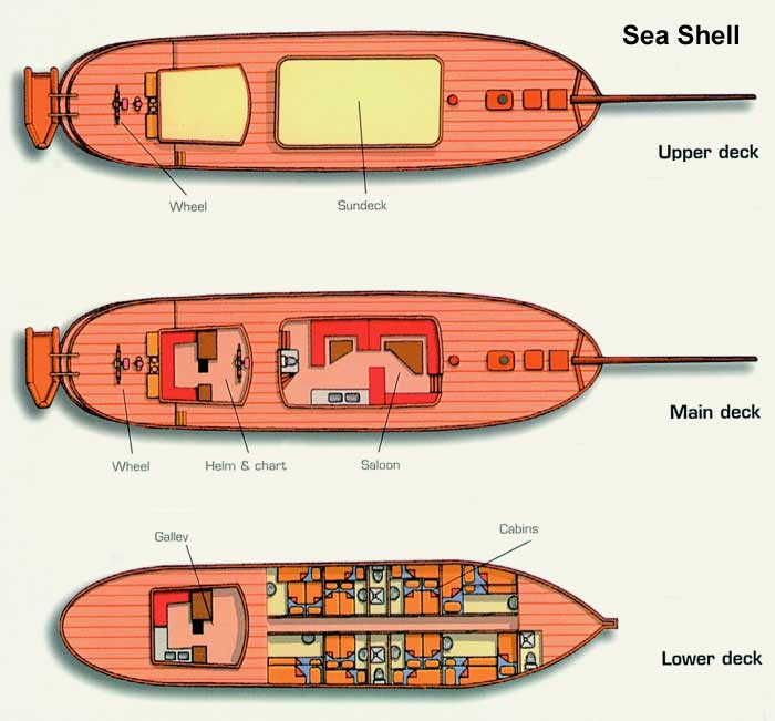 Cabin layout for Sea Shell & Sea Pearl