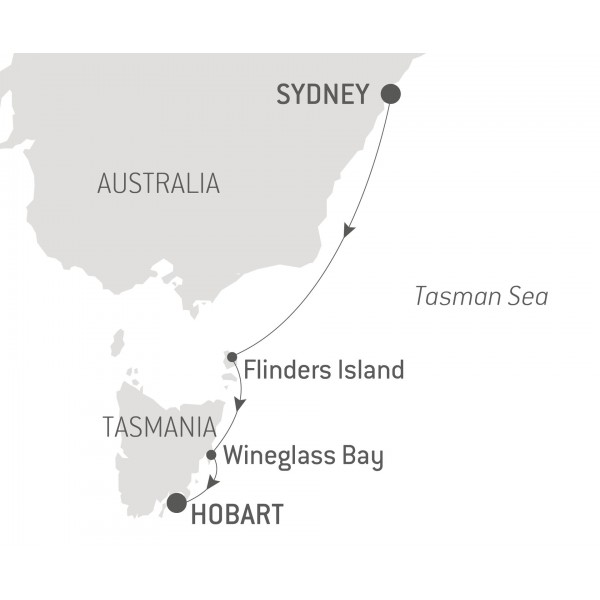 Map for Cruise the 75th Rolex Sydney to Hobart Route