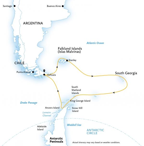 Map for Falklands, South Georgia, and Antarctica (World Explorer)