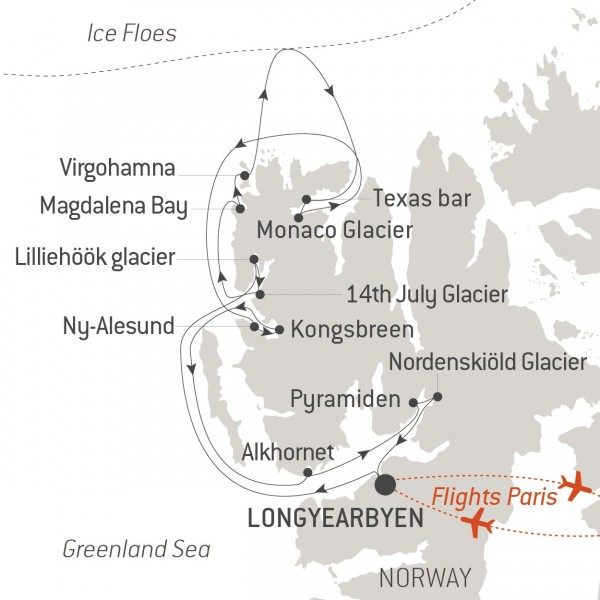 Map for The Best of Spitsbergen (Le Boreal)
