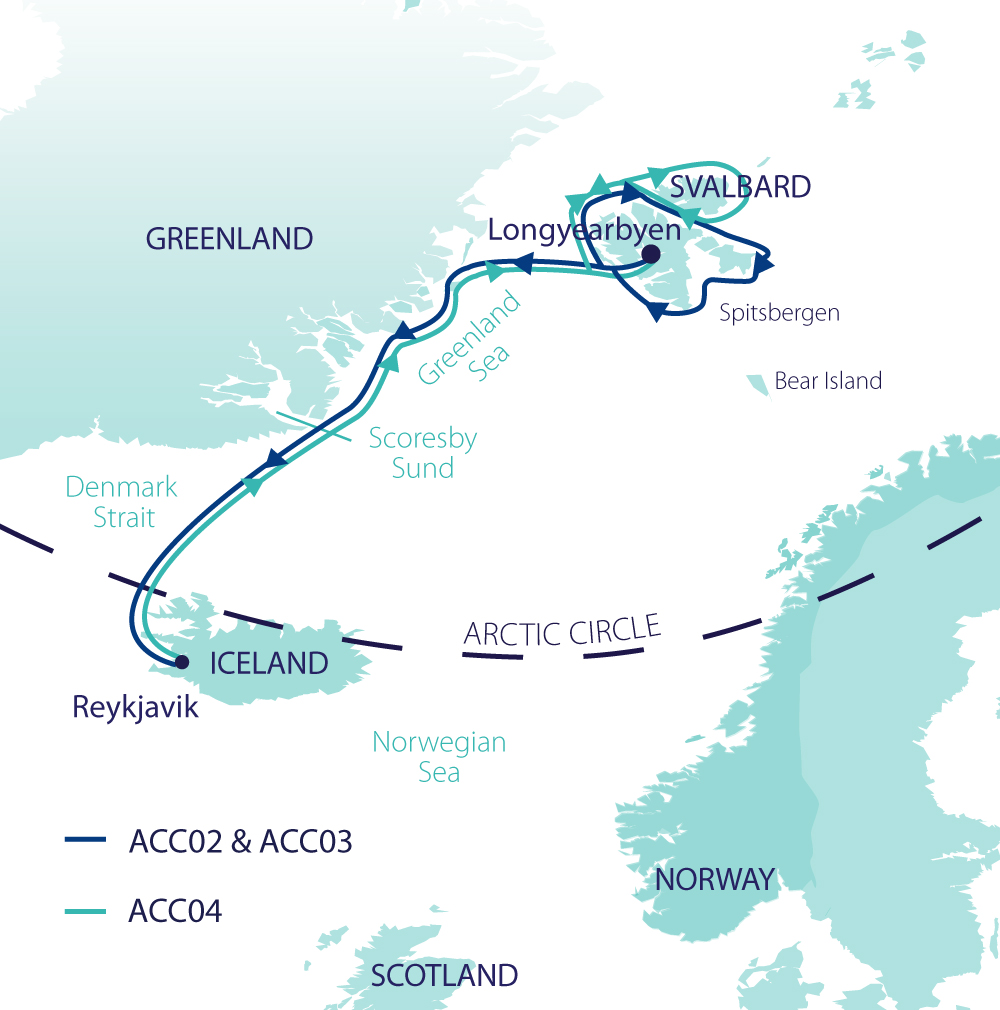 Map for Arctic Complete - Spitsbergen, Greenland & Iceland