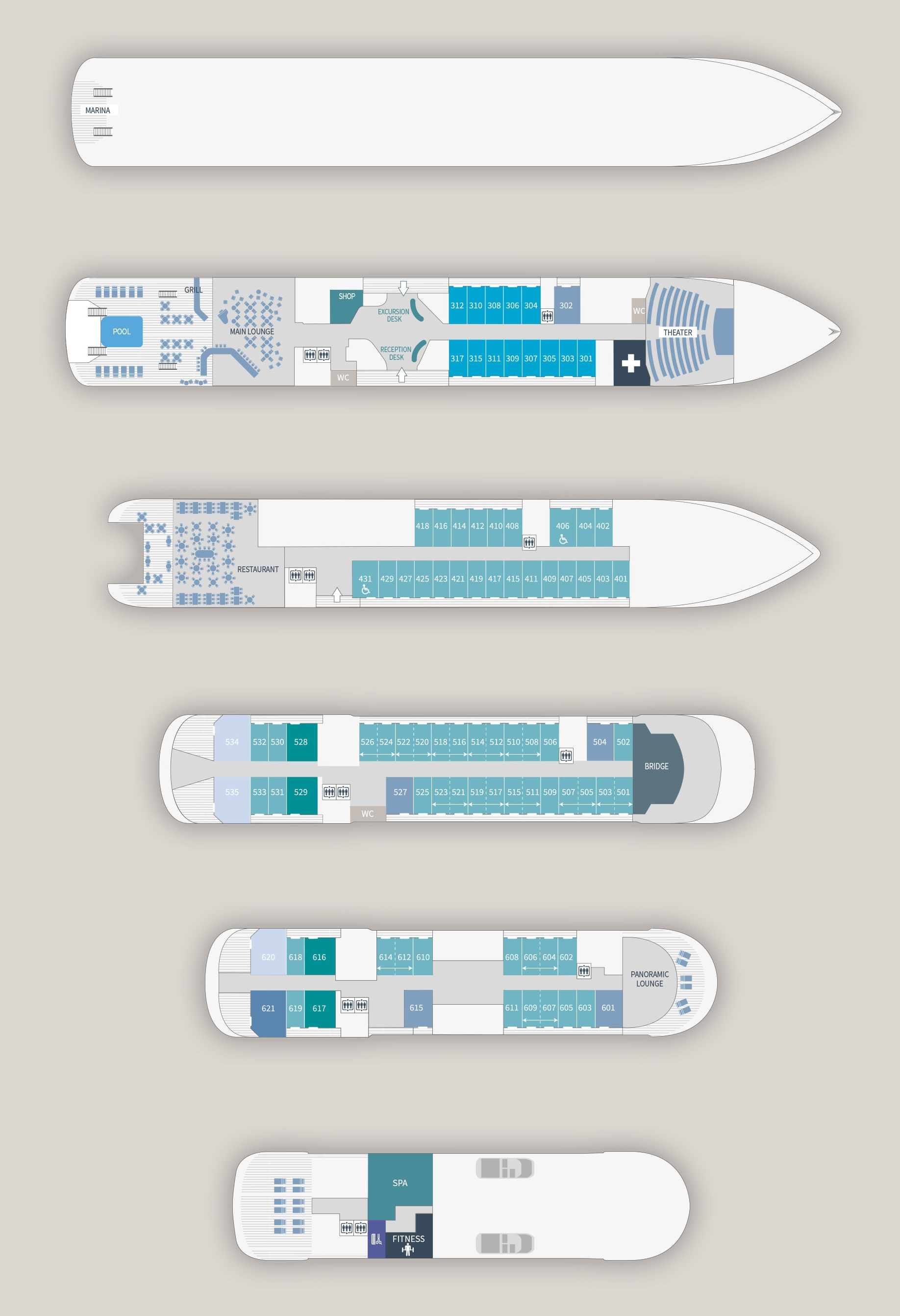 Cabin layout for Le Laperouse