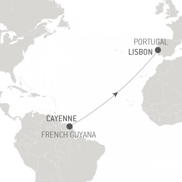 Map for Ocean Voyage: Cayenne - Lisbon