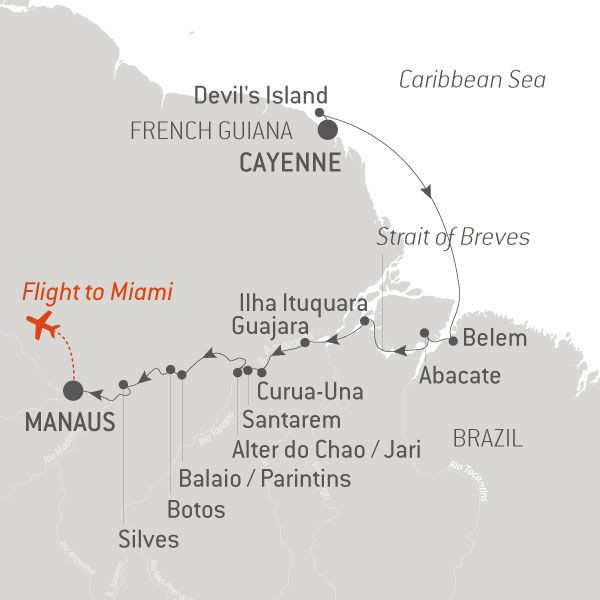 Map for Natural Wonders of the Amazon (Le Champlain)