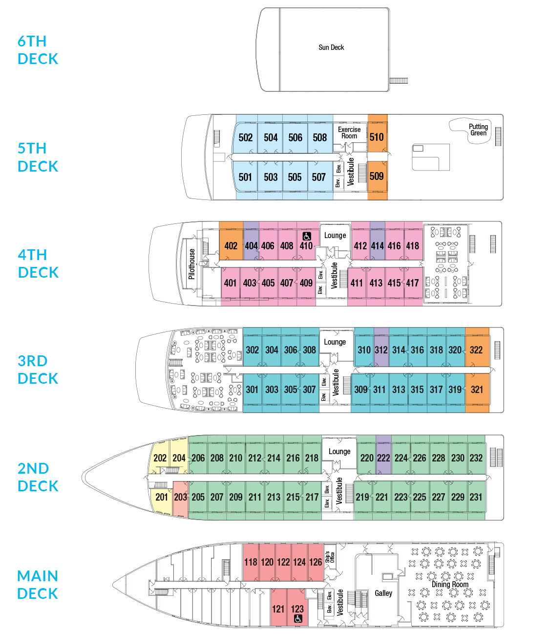 Cabin layout for American Constellation