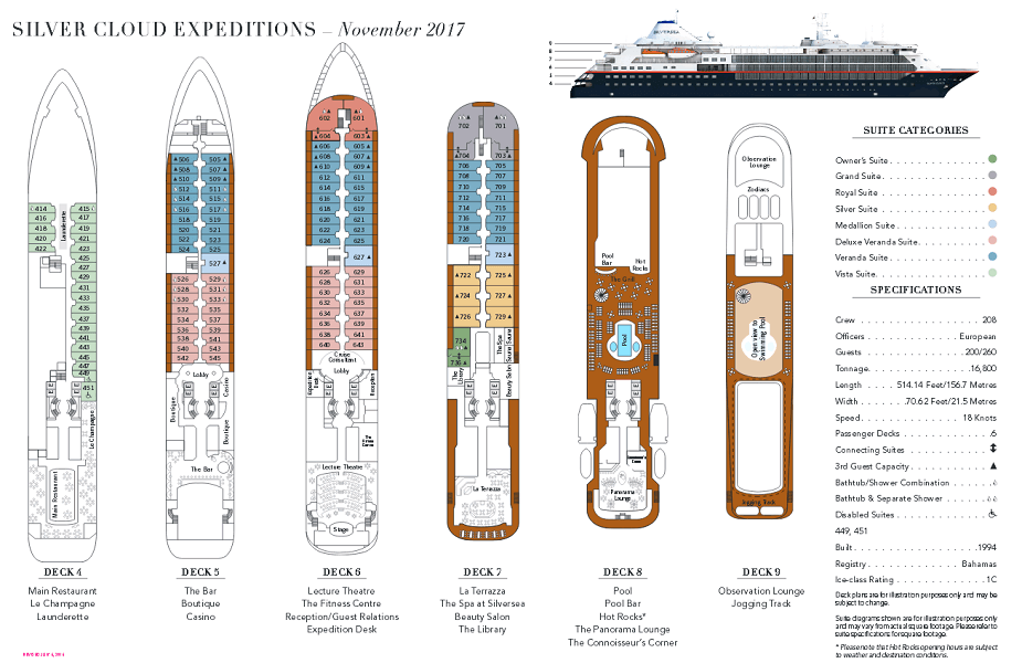 Cabin layout for Silver Cloud