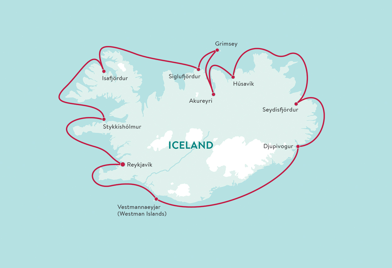 Map for Iceland Circumnavigation (Ocean Endeavour)