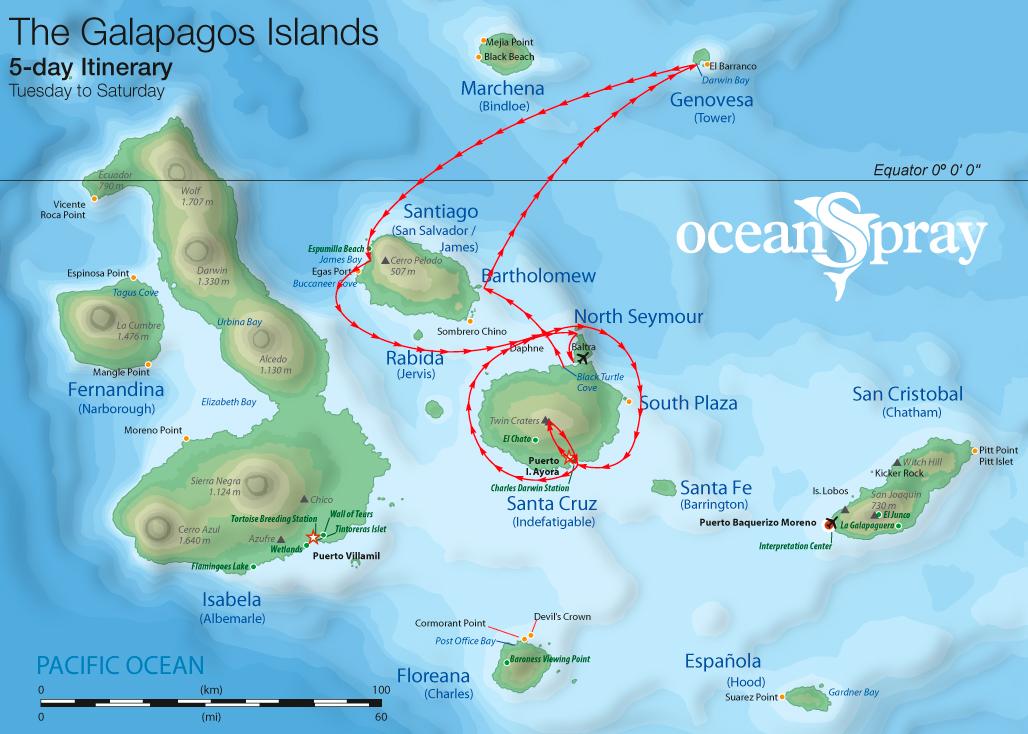 Map for Genovesa & Central Islands 5 days (Ocean Spray)
