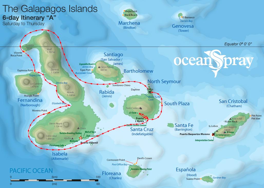 Map for Isabela & Fernandina 6 days A (Ocean Spray)