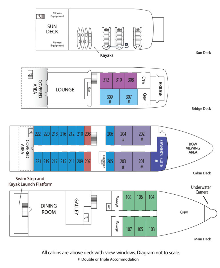 Cabin layout for Safari Voyager