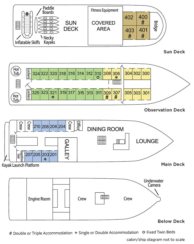Cabin layout for Wilderness Discoverer