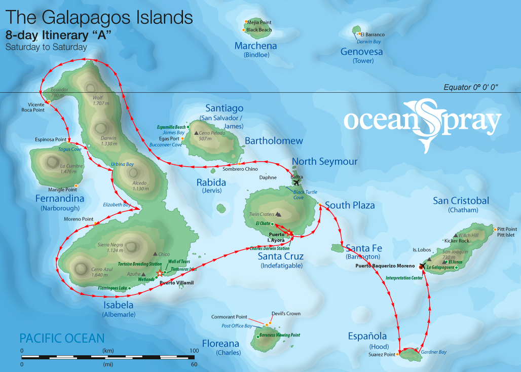 Map for Isabela, Fernandina & Española 8 days A (Ocean Spray)