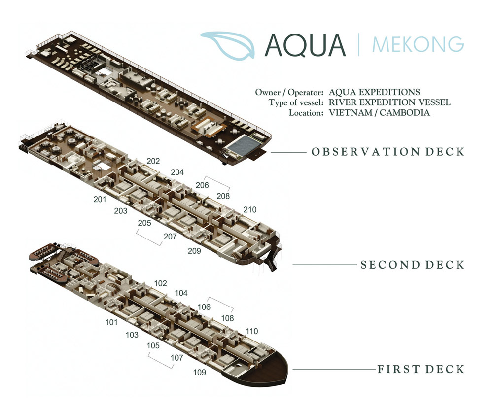 Cabin layout for Aqua Mekong