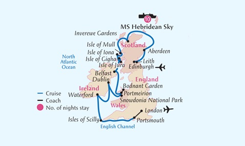 Map for British Isles Gardens and Castles