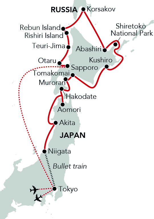 Map for Circumnavigation of Hokkaido