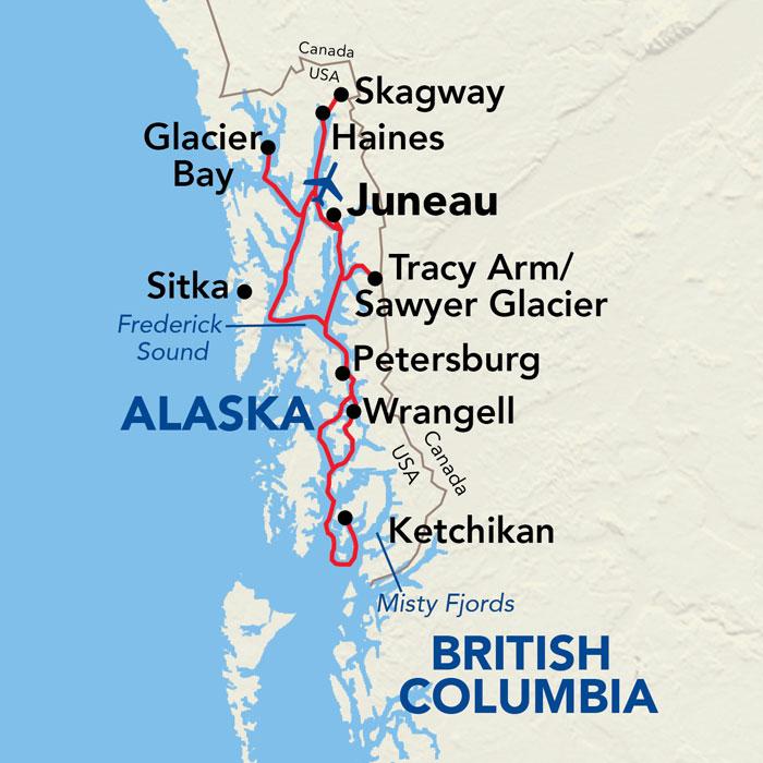 Map for Alaskan Explorer Cruise (American Constellation)