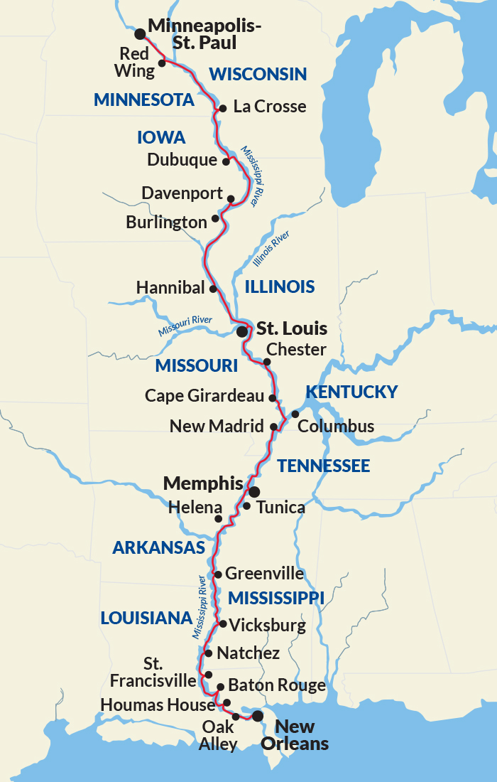 Map for Complete Mississippi River Cruise (American Harmony)