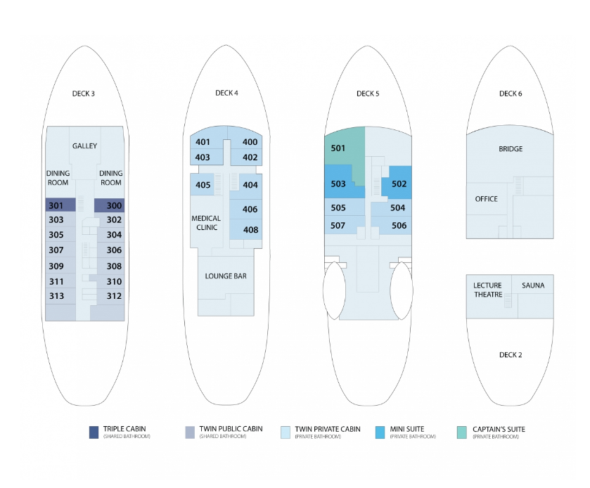 Cabin layout for Polar Pioneer