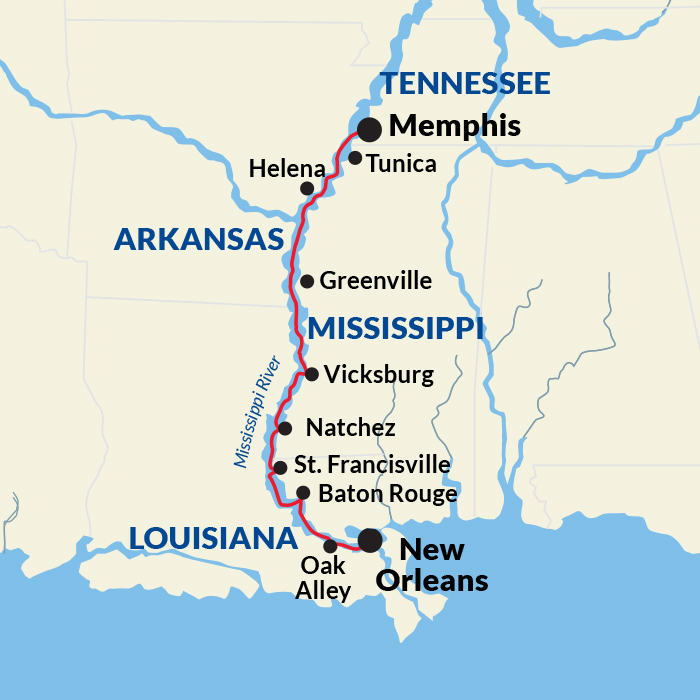 Map for Lower Mississippi River Cruise (American Harmony)