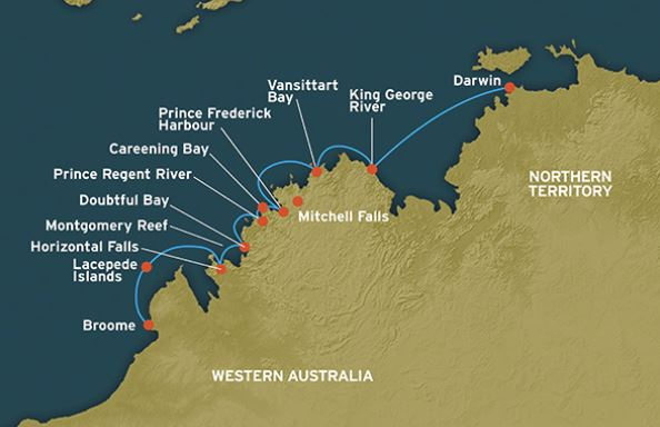 Map for The Kimberley: Broome to Darwin (Coral Discoverer)