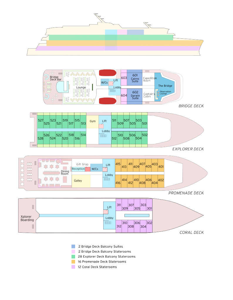 Cabin layout for Coral Adventurer