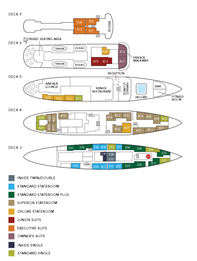 Cabin layout for Serenissima