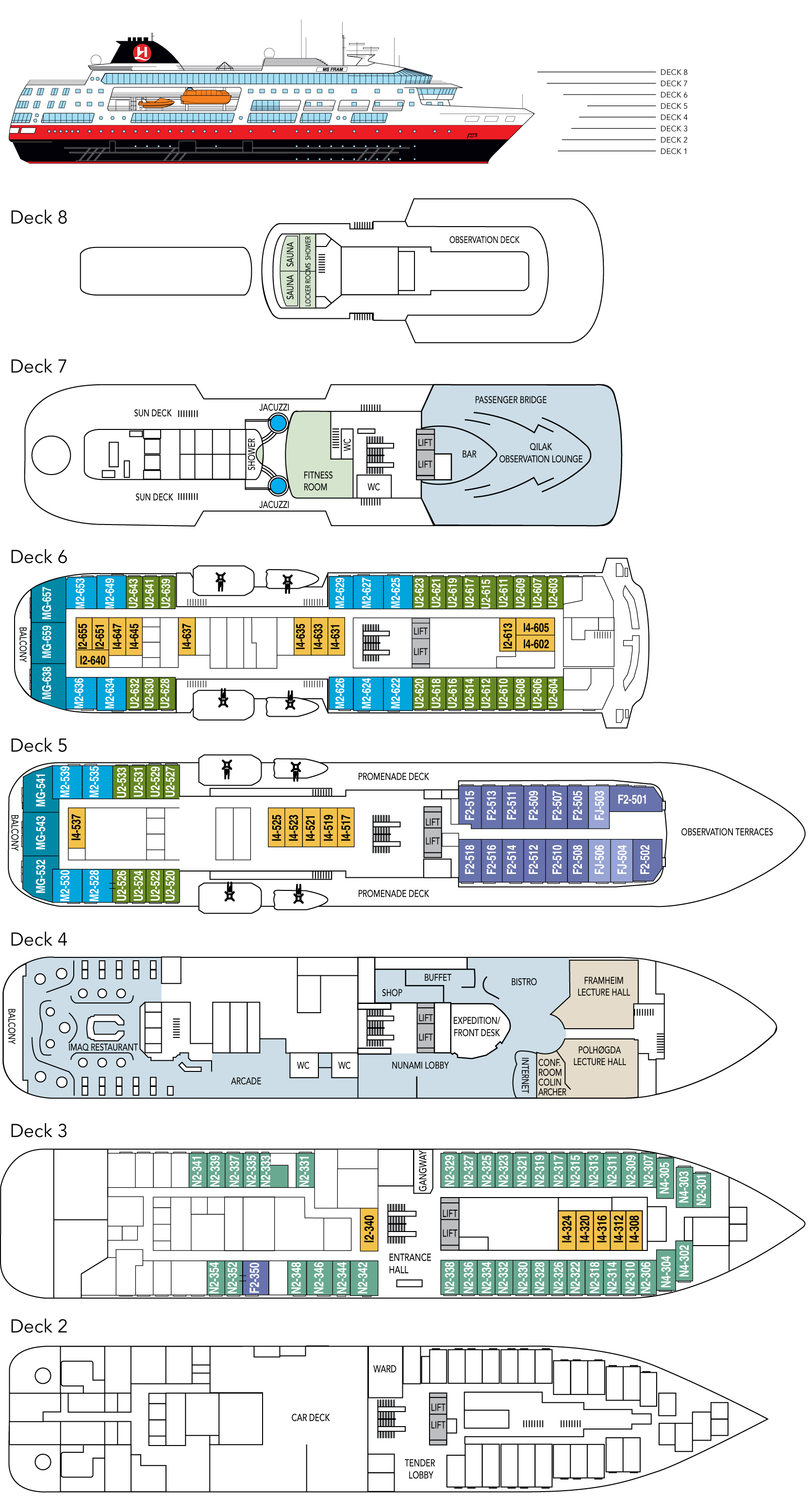 Cabin layout for MS Fram