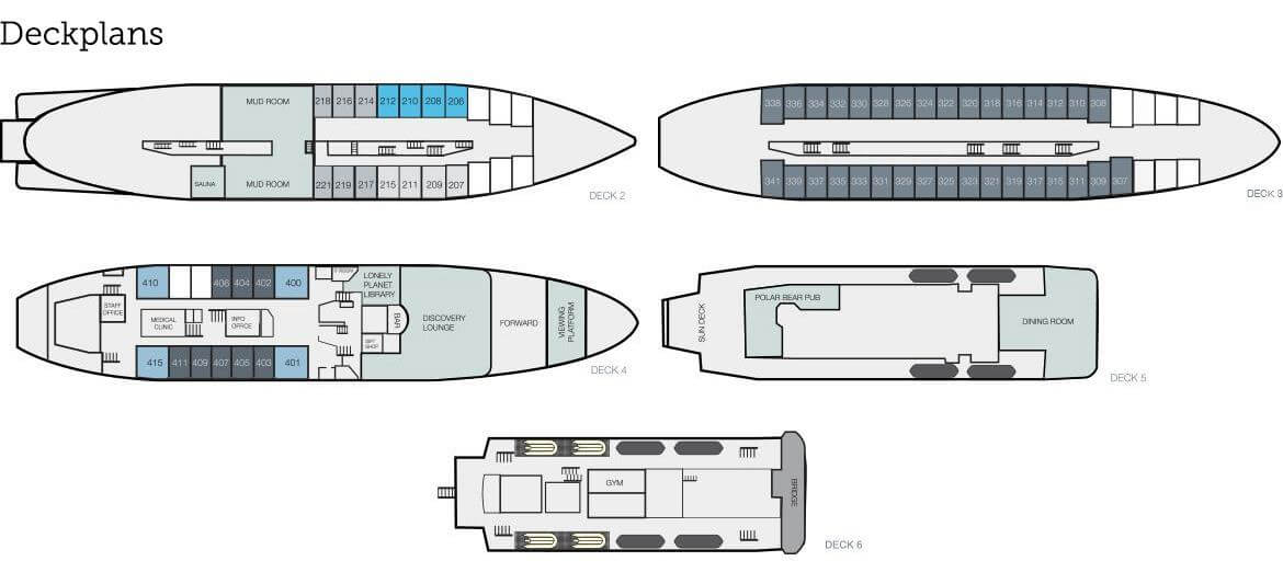 Cabin layout for MS Expedition
