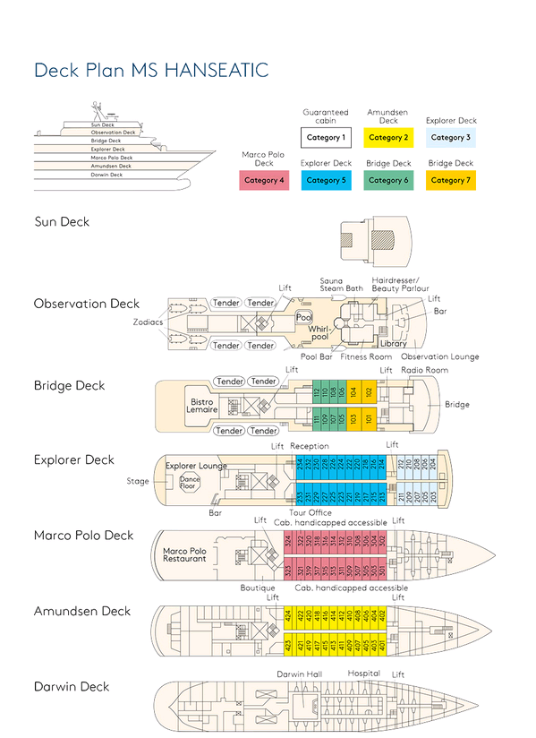Cabin layout for Hanseatic