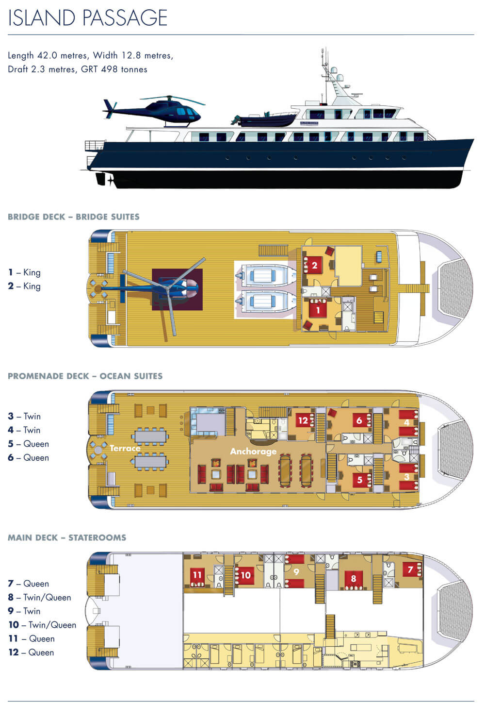 Cabin layout for Island Passage
