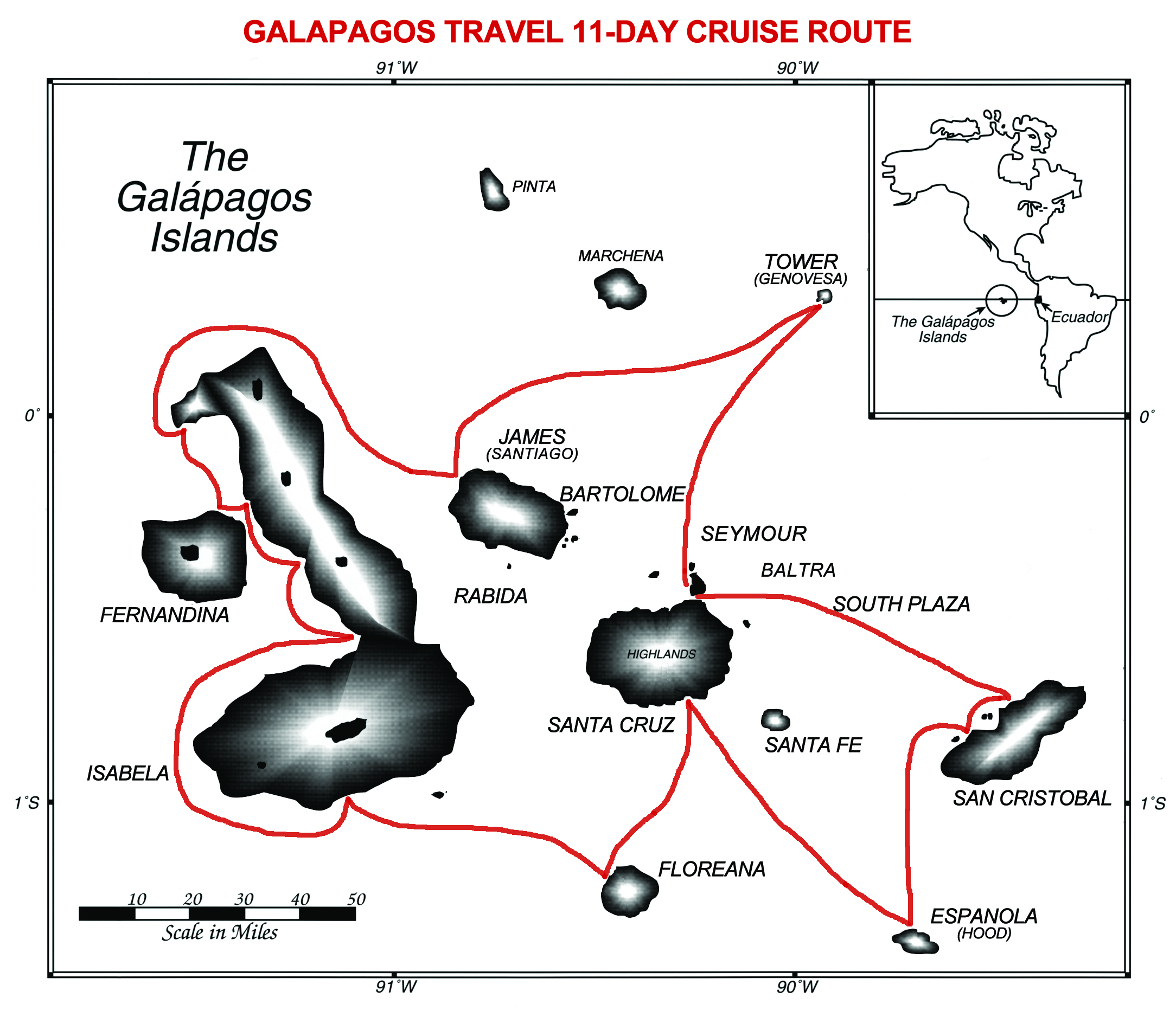 Map for 14 Day Natural History Galapagos Experience