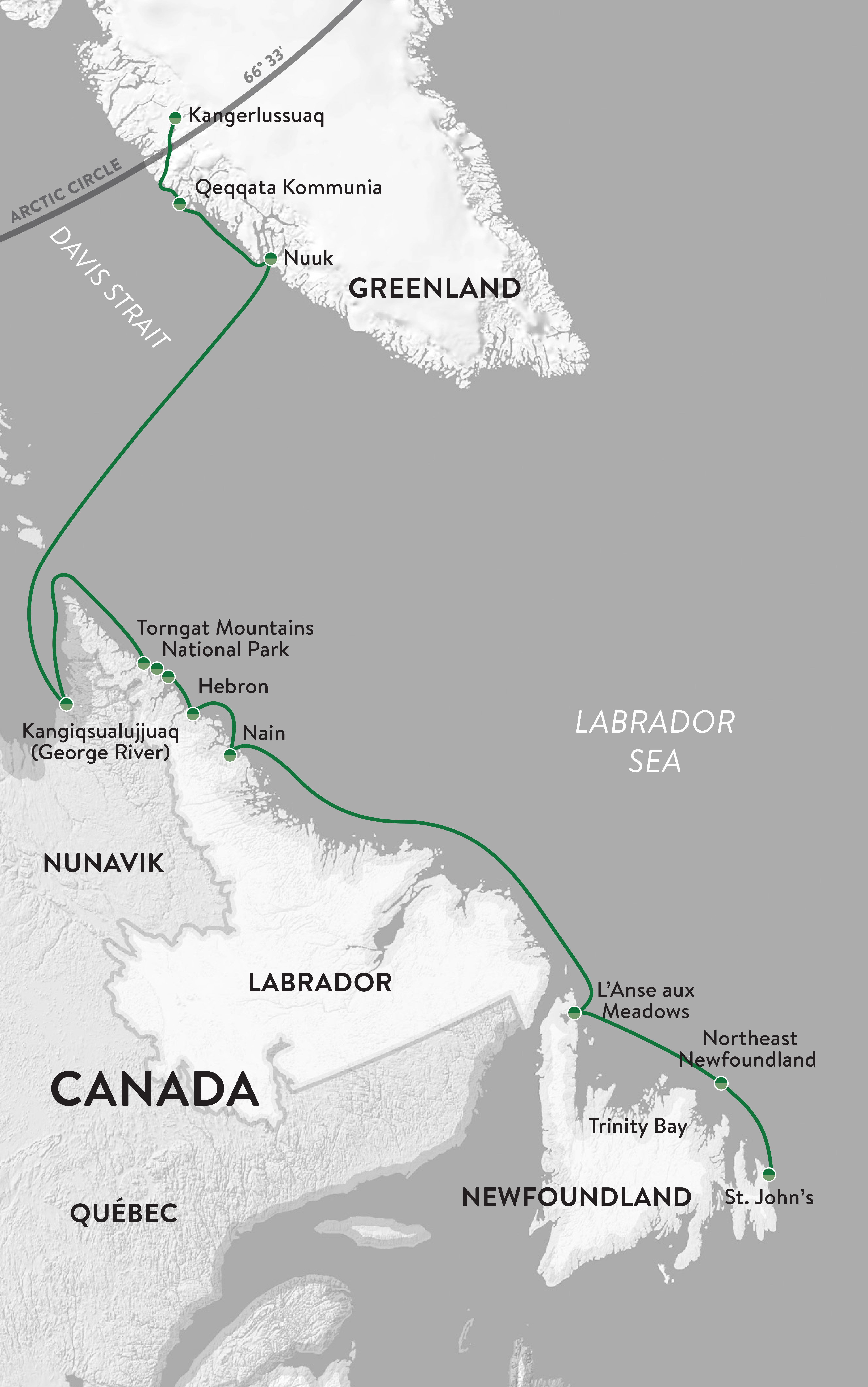 Map for Greenland & Wild Labrador with Parks Canada