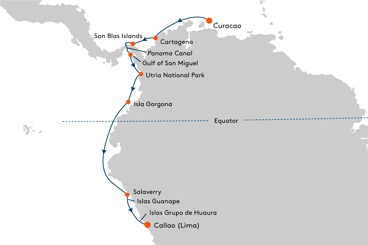 Map for Expedition South and Central America