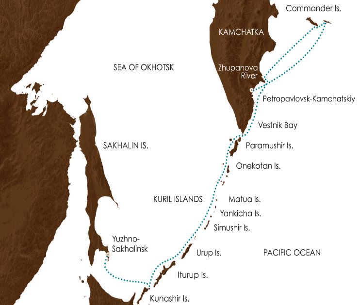 Map for Kamchatka & Kuril Islands: Russia's Ring of Fire