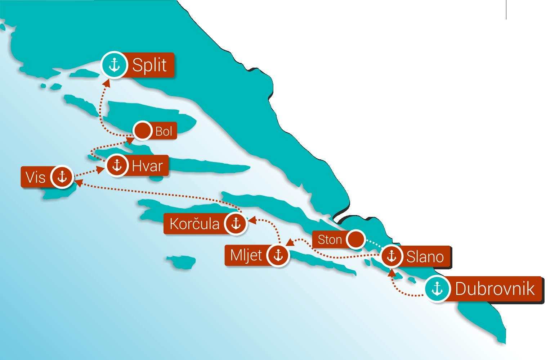Map for Wonders of Croatia: Dubrovnik - Split (Deluxe Superior Ships)