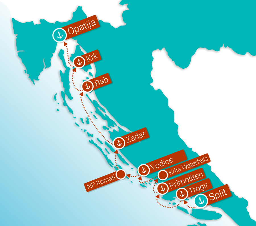Map for Northern Pearls: Split - Opatija (Premium Ships)