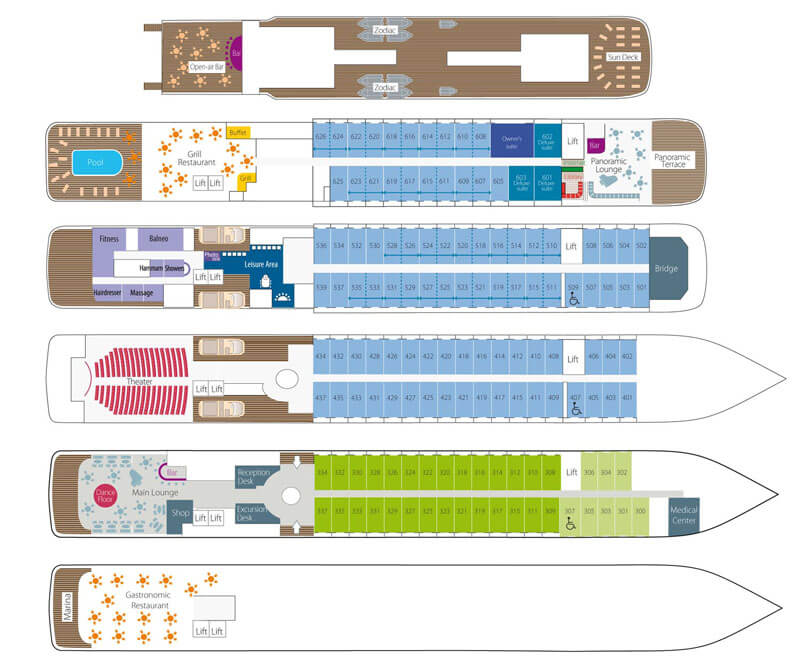 Cabin layout for L'Austral