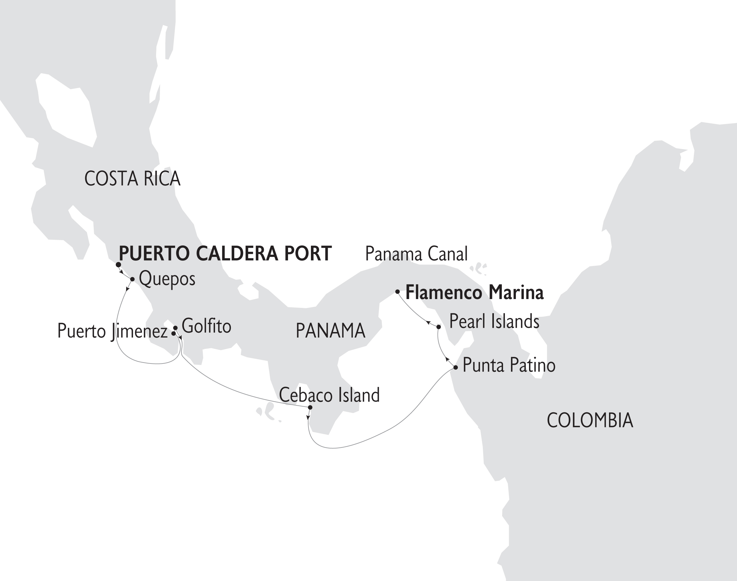 Map for Costa Rica & the Panama Canal (Callisto)