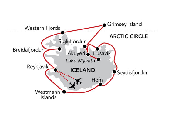 Map for Iceland's Natural Wonders